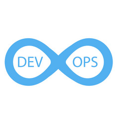 devops logotype sign of infinity with arrows blue vector image