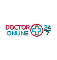 doctor online logo on white background mobile vector image