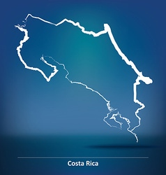 Doodle Map of Costa Rica vector