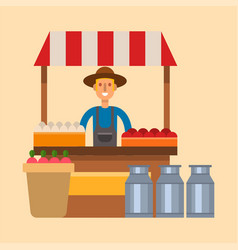 Farmer character man agriculture shop kiosk vector