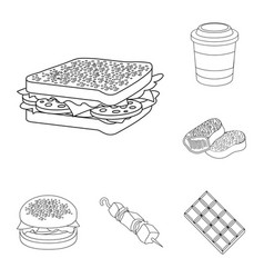 fast food outline icons in set collection for vector image