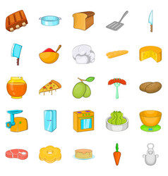 Filling for buns icons set cartoon style vector