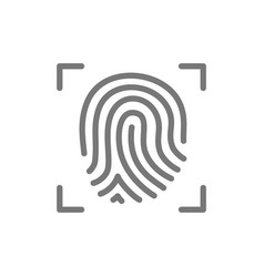 fingerprint verification line icon vector image