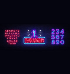 first round is a neon sign boxing round 1 vector image