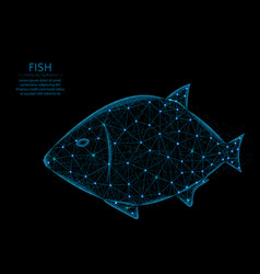 Fish low poly model animal in polygonal style vector