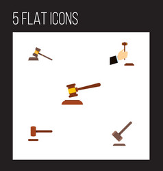 flat icon court set of court defense tribunal vector image