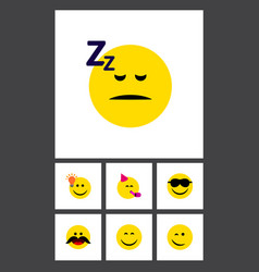 Flat icon emoji set of asleep cheerful party vector