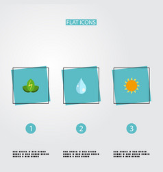 flat icons eco energy sunshine water and other vector image
