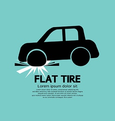Flat Tire Car Black Graphic vector image vector image