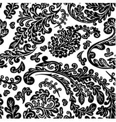 floral foliage and leaves seamless pattern vector image