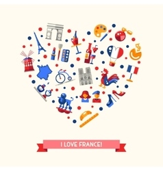 France travel icons heart postcard with famous vector