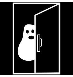 Funny Ghost Halloween nightmare behind the door vector image