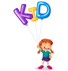 girl holding balloon for word kid vector image
