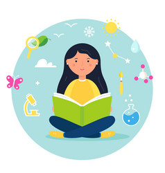girl reading a book science biology stem and vector image