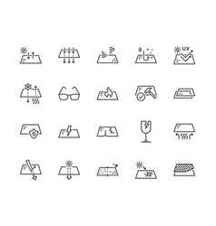 glasses properties flat line icons set glass vector image