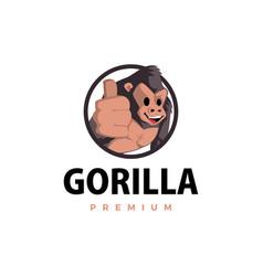 gorilla thump up mascot character logo icon vector image