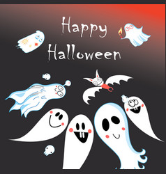 Greeting card for halloween with ghosts vector