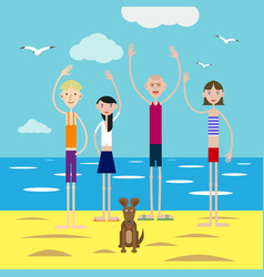 group of happy young people invites to rest on vector image