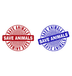 grunge save animals textured round stamp seals vector image