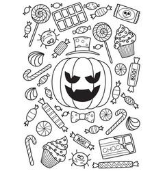 halloween pumpkin and candies doodle coloring book vector image