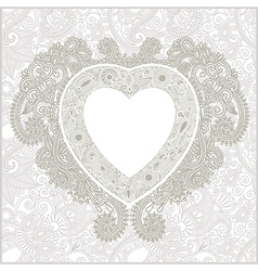 Hand draw ornate floral Valentin Day card with hea vector
