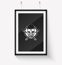 Hand drawn skull with wrench vector