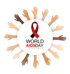 Hands and red ribbon to aids prevention campaign vector