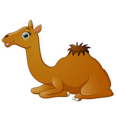 Happy camel cartoon lying down vector