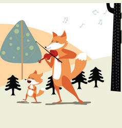 Happy fox and papa play the music vector