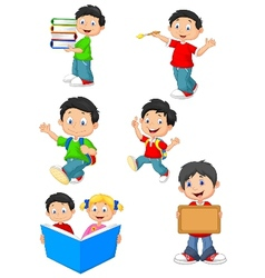 Happy school children cartoon collection set vector