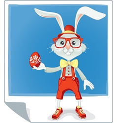 Hipster Easter Rabbit Cartoon vector image