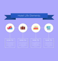 hotel life elements and text vector image vector image