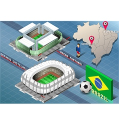 Isometric Stadium of Cuiaba and Fortaleza Brazil vector image