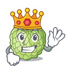 King ripe sugar apple fruit on mascot vector