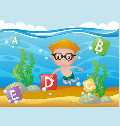 Learning alphabets with boy underwater vector