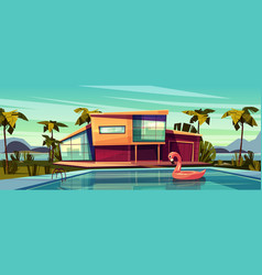 Luxury villa with swimming pool cartoon vector