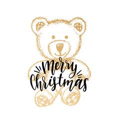 merry christmas lettering on white background vector image