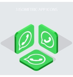 Modern 3 isometric telephone app icons vector