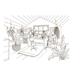 Monochrome drawing of cozy cabinet mansard or vector