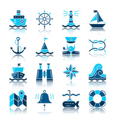 Nautical color silhouette with reflection icon set vector