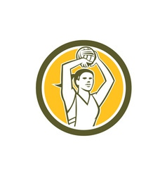 Netball player shooting ball circle retro vector