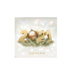 new year background with 2021 with branch tree vector image