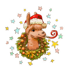 New year llama in santa hat with christmas wreath vector