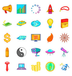 note the time icons set cartoon style vector image