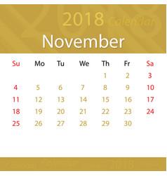 november 2018 calendar popular premium for vector image