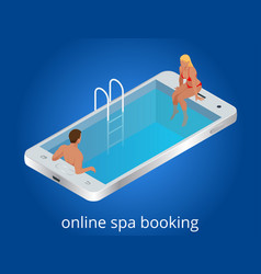 Online spa booking concept guests can book vector