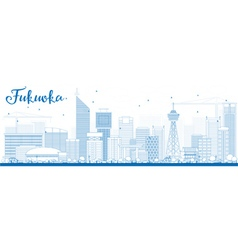 Outline Fukuoka Skyline with Blue Landmarks vector image