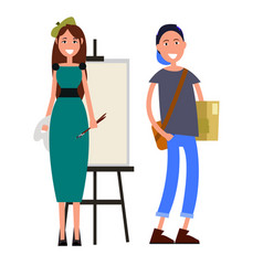 painter with brushes and student with briefcase vector image