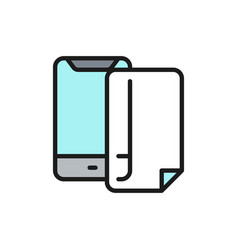 Phone protective film screen protector flat color vector