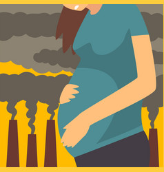 Pregnant woman suffering from fine dust vector